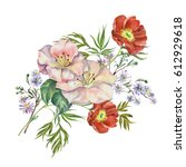 flowers spring watercolor. | Shutterstock . vector #612929618