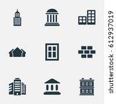 set of 9 simple construction... | Shutterstock . vector #612937019