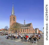 Small photo of TURNHOUT-MARCH 28, 2017. Local tourists enjoy a terrace in Turnhout, Belgium. In recent years, the hospitality industry has been one of the fastest-growing sectors in Europe in terms of employment.