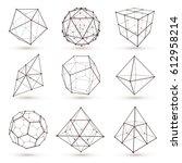 set of wireframe polygonal... | Shutterstock .eps vector #612958214