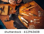 leather crafting  artisan... | Shutterstock . vector #612963608