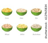 six bowls with different cereal ... | Shutterstock .eps vector #612965834
