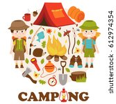 camping elements and characters ... | Shutterstock .eps vector #612974354