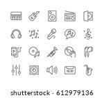 simple set of music related... | Shutterstock .eps vector #612979136
