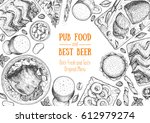 pub food frame vector... | Shutterstock .eps vector #612979274