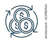 circle arrows around coins... | Shutterstock .eps vector #612980963
