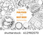 pub food frame vector... | Shutterstock .eps vector #612982070
