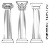 stylized greek columns. doric.... | Shutterstock .eps vector #612984140