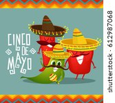 cinco de mayo poster design... | Shutterstock .eps vector #612987068