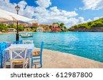 assos village in kefalonia ... | Shutterstock . vector #612987800