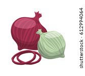 onions purple white slice... | Shutterstock .eps vector #612994064