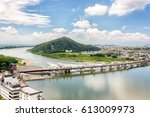 the kiso river seen from... | Shutterstock . vector #613009973