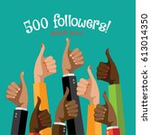 thank you for following thumbs... | Shutterstock .eps vector #613014350