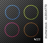 set of neon circles  different... | Shutterstock .eps vector #613014770