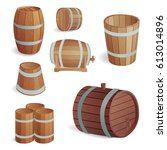 wooden barrel vintage old style ... | Shutterstock .eps vector #613014896
