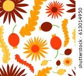 nature flower wreath... | Shutterstock .eps vector #613014950