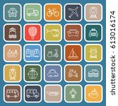 transportation line flat icons... | Shutterstock .eps vector #613016174