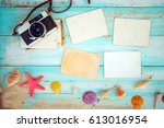 top view composition   blank...   Shutterstock . vector #613016954