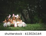 Little Girls Play With Easter...