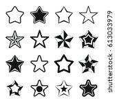 set flat black silhouette star... | Shutterstock .eps vector #613033979