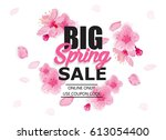 spring sale banner with... | Shutterstock .eps vector #613054400