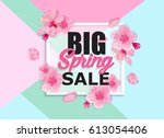 spring sale banner with... | Shutterstock .eps vector #613054406