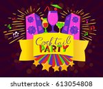 cocktail party lettering on...   Shutterstock .eps vector #613054808