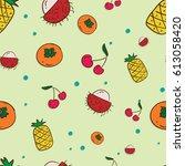 pattern fruit rambutan... | Shutterstock .eps vector #613058420