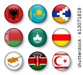 set of world flags round badges ... | Shutterstock .eps vector #613071818