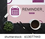 workspace with coffee and...   Shutterstock . vector #613077443