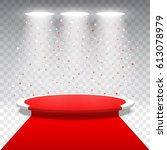 white round podium with red... | Shutterstock .eps vector #613078979