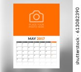 calendar template for may 2017. ... | Shutterstock .eps vector #613082390