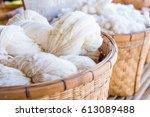 handmade yarn from the cotton...   Shutterstock . vector #613089488