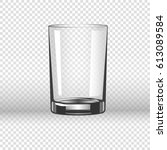 clear glassy cup for water ... | Shutterstock .eps vector #613089584