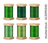 thread spool set. bright old... | Shutterstock . vector #613090340