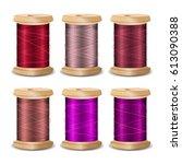 thread spool set. bright old... | Shutterstock . vector #613090388