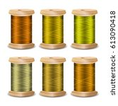 thread spool set. bright old... | Shutterstock . vector #613090418