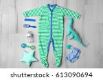 baby clothes and accessories on ... | Shutterstock . vector #613090694