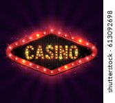 casino banner on a shining... | Shutterstock .eps vector #613092698