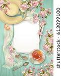 spring top view wooden... | Shutterstock .eps vector #613099100