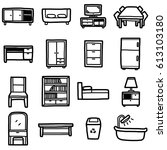 furniture objects  icons set  ... | Shutterstock .eps vector #613103180