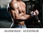 handsome power athletic man on... | Shutterstock . vector #613103618