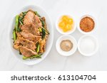 fried noodles with soy sauce... | Shutterstock . vector #613104704