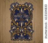 vector vintage items  label art ... | Shutterstock .eps vector #613104833