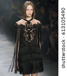 Small photo of NEW YORK, NY - FEBRUARY 15, 2017: Ania Chiz walks the runway at the Marchesa Fall Winter 2017 fashion show during New York Fashion Week at Skylight Clarkson Sq
