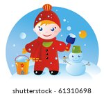 A little boy on a winter walk and his Snowman - stock vector