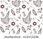 seamless pattern with fishing...   Shutterstock .eps vector #613112246