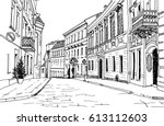 old city street in hand drawn... | Shutterstock .eps vector #613112603