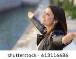 happy woman with grateful... | Shutterstock . vector #613116686