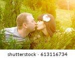 closeup of couple in love... | Shutterstock . vector #613116734